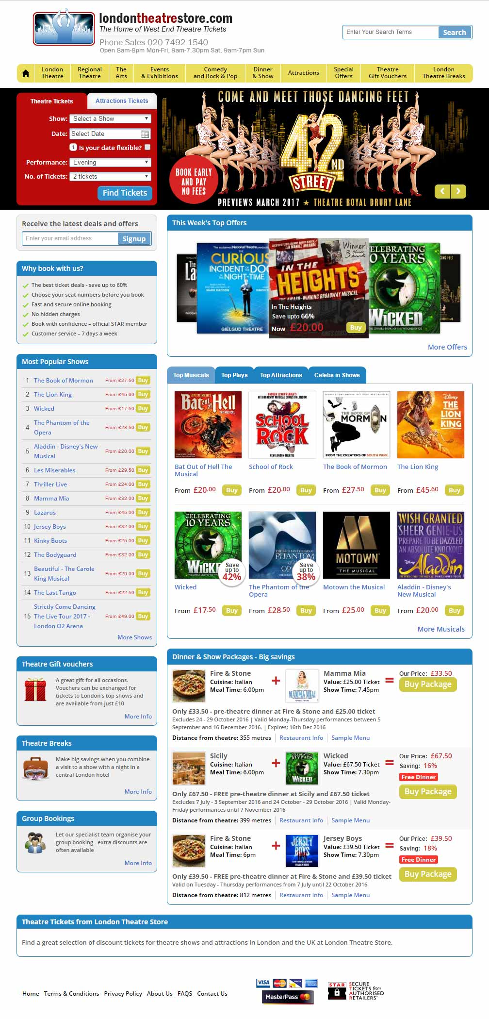 Website Design London Theatre Store